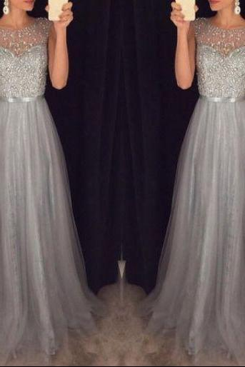 Pretty Grey Tulle Beaded Spark Top Long Prom Dresses, Grey A-line Formal Gowns, Evening Dresses