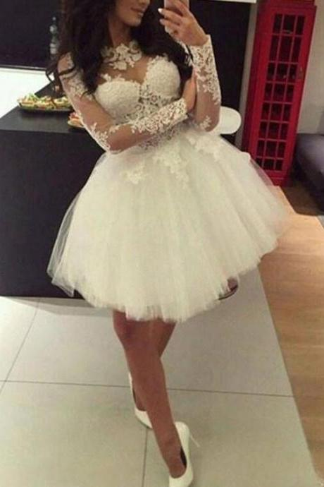 White Long Sleeves Ball Short Tulle Party Dresses, Lovely 16 Formal Dresses, Cute Short Prom Dresses