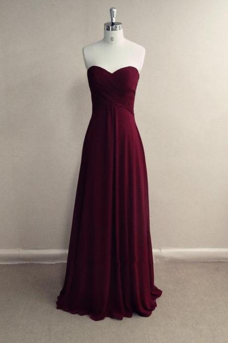 Burgundy Chiffon Sweetheart Floor Length A-Line Formal Dress, Prom Dress