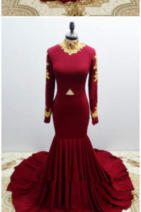 Pretty Handmade High Quality Spandex Wine Red Long Sleeves Mermaid Party Gowns, Sexy Evening Gowns, Long Prom Dresses 2018