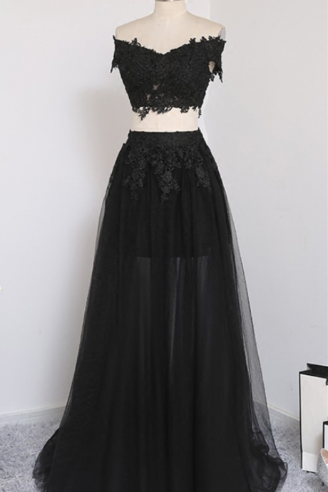 Black Two Piece Chic Prom Dresses 2018, Two Piece Tulle Prom Dresses, Off Shoulder Party Dresses