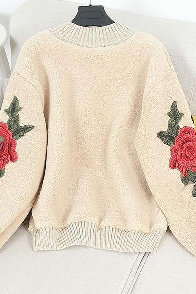 Floral Embroidered Sleeves Mock Neck Sweater
