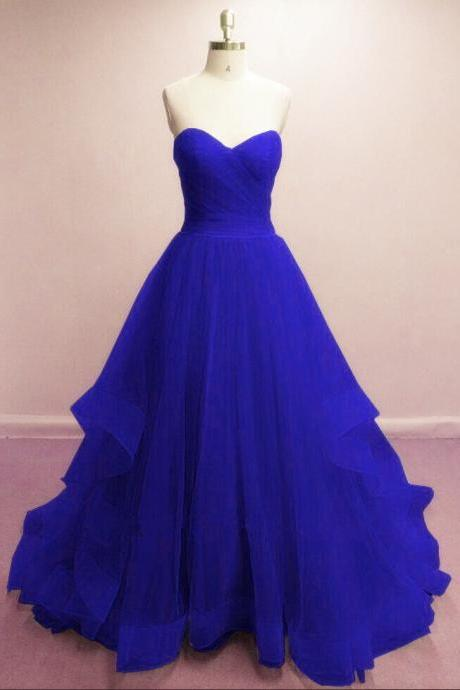 Gorgeous Royal Blue Sweetheart Tull Gowns, Blue Prom Dresses 2018, Sweetheart Beautiful Formal Evening Dresses