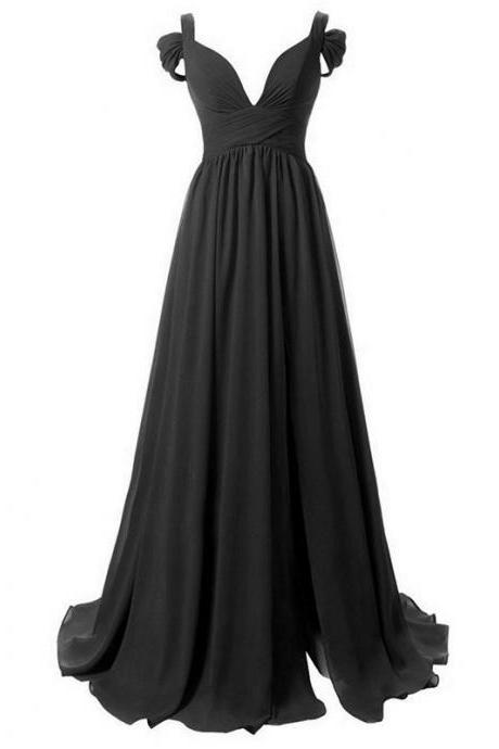 Black Chiffon Off-The-Shoulder Plunge V Floor Length A-Line Bridesmaid Dress Featuring Sweep Train
