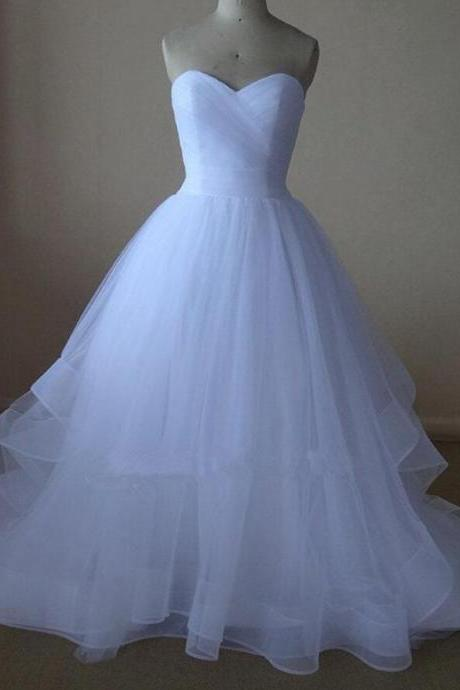 White Beautiful Sweetheart Ball Gown Tulle Evening Prom Dresses, Simple Wedding Dresses, Beautiful Party Gowns