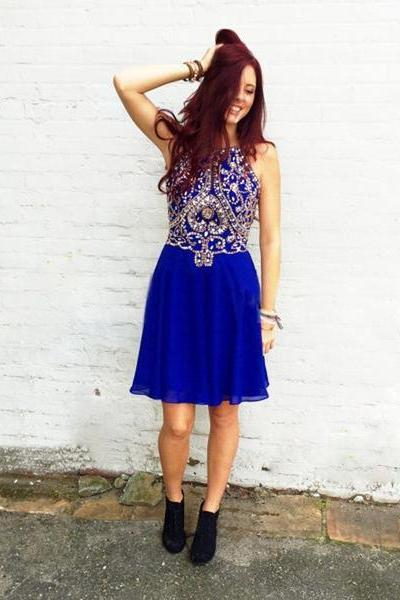 Knee Length Royal Blue Beaded Sparkle Homecoming Dresses, Rhinestones Halter Party Dresses, Cute Short Prom Dresses