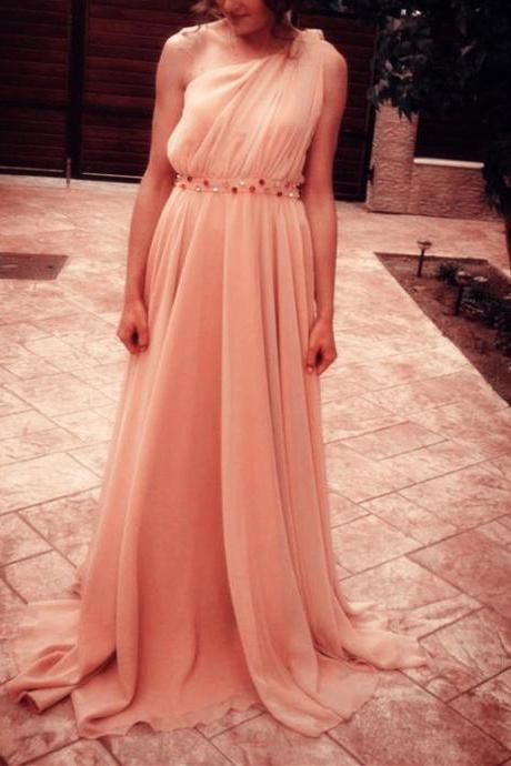 Lovely One Shoulder Chiffon Simple Beaded Floor Length Prom Dresses, Pink Party Gowns, Formal Dresses, Wedding Party Dresses