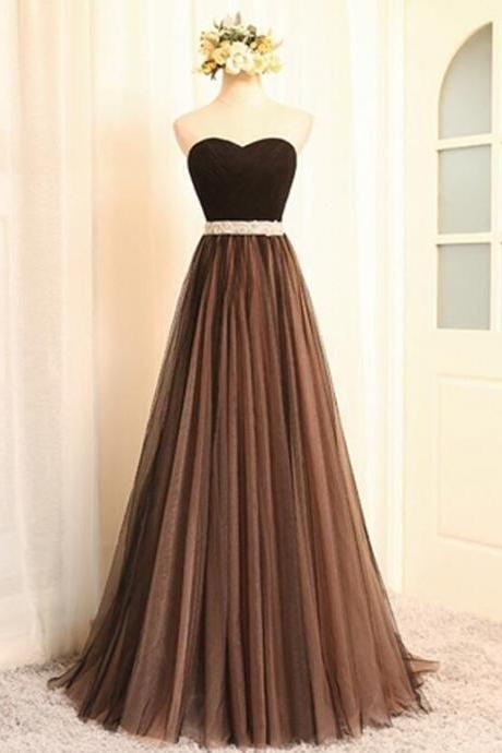 Unique Tulle A Line Evening Party Dress Vestido de Festa Longo, Elegant Formal Gown, Long Prom Dresses