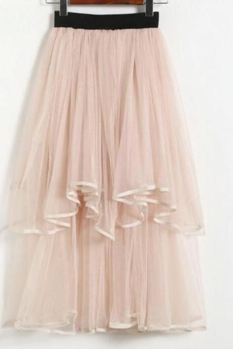 Lovely Layered Tulle High Low Skirts, Women Casual Elastic High Waist Pleated Midi Skirts, High Low Skirts
