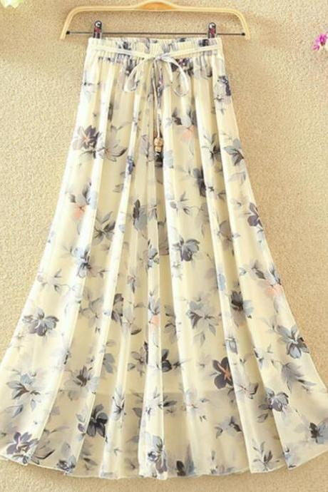Pretty Floral Chiffon Long Skirts, A-line Women Skirts, Beautiful Teen Skirts