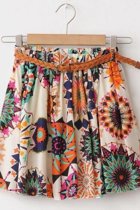 Chiffon Short Mini Floral Skirts, Women Mini Skirts