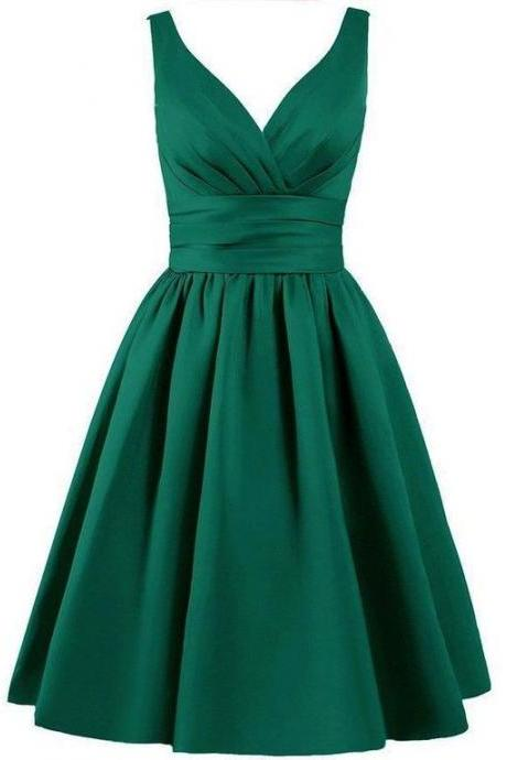 Charming Satin Knee Length A-Line Evening Dress featuring Plunge V Bodice, Green Short Party Dresses