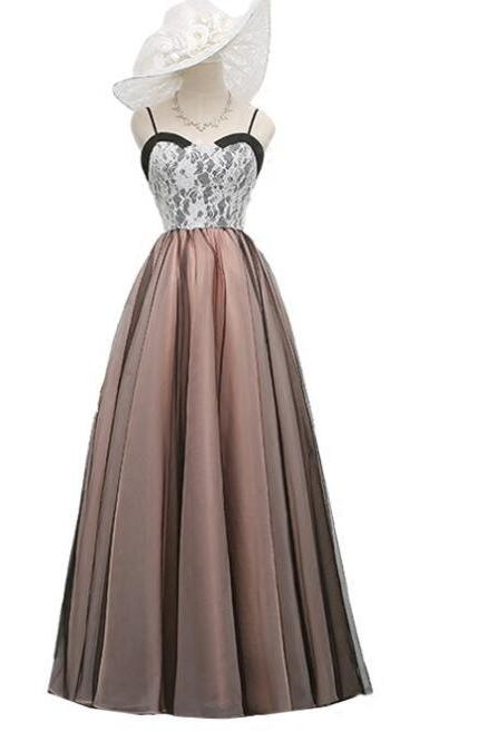 Cute Straps Long Tulle and Lace Gowns, Beautiful Prom Dresses, A-line Party Dresses