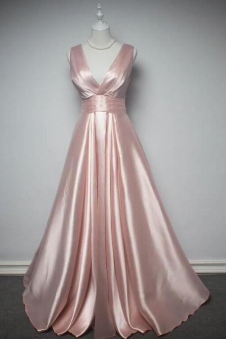 Sexy Satin Pink Evening Dress Prom Dress Custom Made Prom Dresses, Pink Formal Gowns