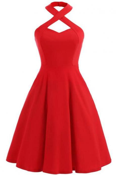 Red Halter Women Dresses, Vintage Style Tea Length Beautiful Dresses, Cocktail Party Dresses
