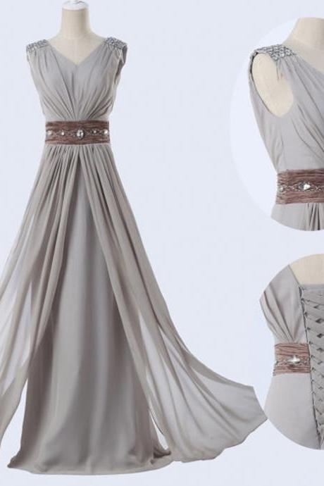 Grey Chiffon Evening Dress Long V-Neck Evening Dress, Long Prom Dresses, Party Gowns