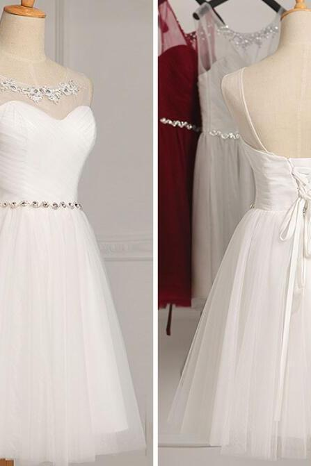 White Simple Graduation Dresses, Lovely Party Dresses, White Prom Dresses