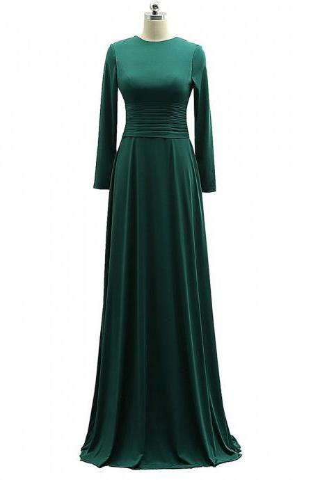 Stylish Long Sleeves Dark Green A-line Formal Dresses, Prom Gowns 2018, Evening Dresses 2018