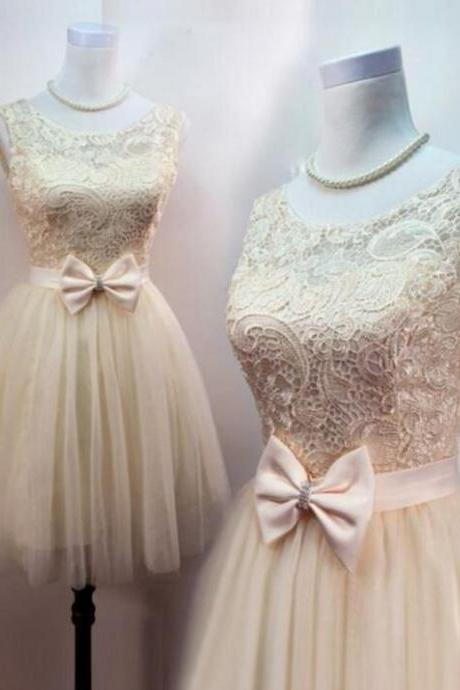 Lovely Champagne Tulle Homecoming Dresses, Lace Short Prom Dress with Bow, Cute Formal Dresses