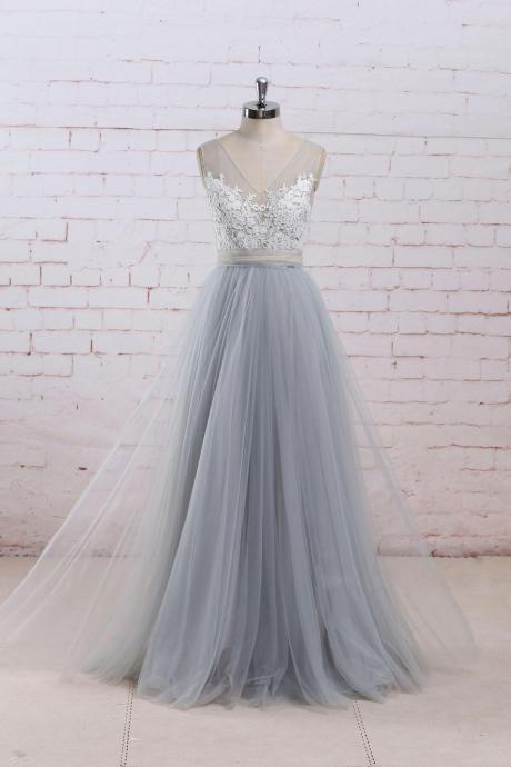 Grey Tulle Princess Gowns, Gorgeous Tulle Prom Dresses Long, Wedding Gowns