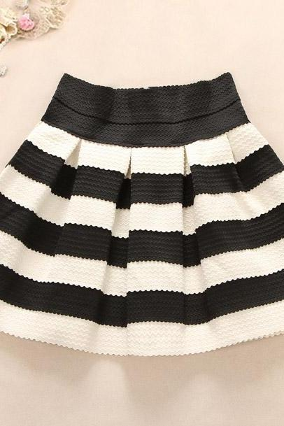 Lovely White and Black Short Autumn/Winter Skirts, Cute Women Skirts, Women Skirts 2018