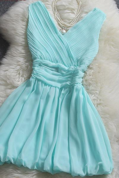 Cute Mint Blue V-neckline Chiffon Short Party Dresses, Short Bridesmaid Dresses, Women Party Dresses