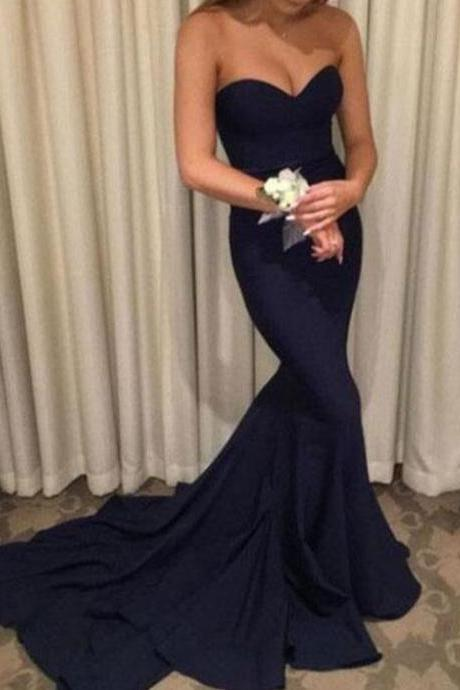 Navy Blue Sweetheart Long Mermaid Evening Dresses, Long Pom Dresses, Formal Gowns 2018
