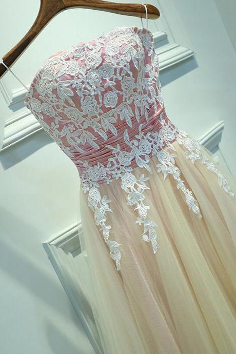 Lovely Strapless Tea Length Vintage Prom Dresses, Floral Lace Applique Party Dresses, Teen Homecoming Dresses