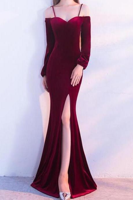 Burgundy Velvet Mermaid Cold Shoulder Long Sleeves Split Prom Dresses, Evening Party Dresses, Formal Gowns