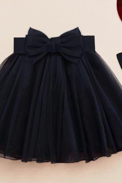 Cute Little Black Dress with Bow, Mini Tutu Dresses, High Quality Lovely Short Teen Skirts