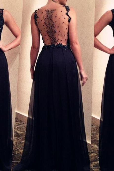 Black See Through Beaded Back Long Prom Dresses 2018, Prom Dresses for Sale, Wedding Party Dresses