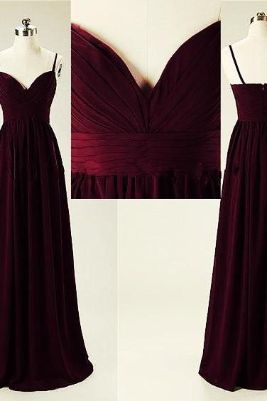 Maroon Straps V-neckline Prom Dresses 2018, Prom Dresses, Party Dresses, Formal Gowns