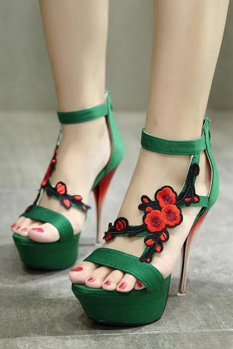 Stiletto Embroidery Suede Sweet High-Heeled Sandals, Women High Heels, Floral Women Shoes