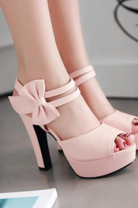 Pink Cute High Heels with Bow, Love Teen Girls Shoes, Party Shoes, Women Shoes