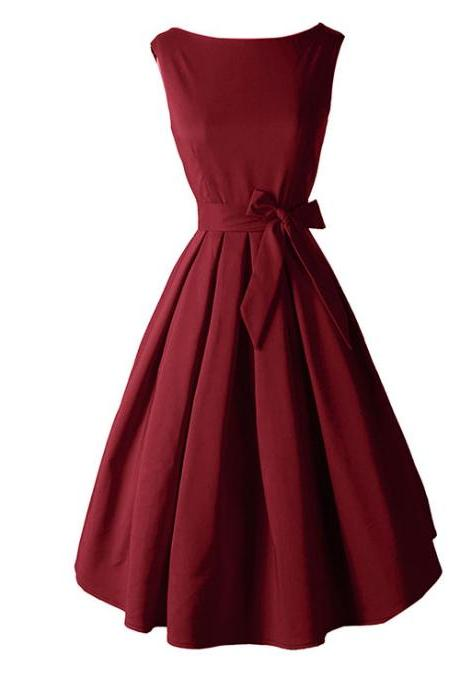 High Quality Burgundy Vintage Style Women Dresses,