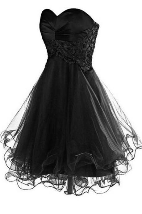 Black Homecoming Dress,Tulle Homecoming Dresses,Homecoming Gowns,Party Dress, Short Tulle Prom Dresses 2018