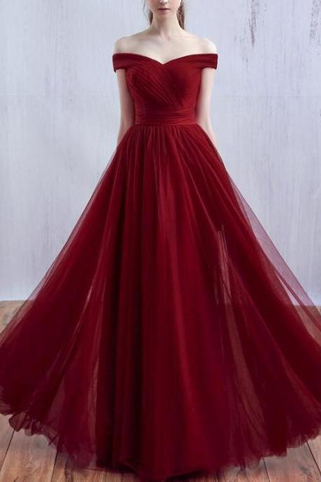 Wine Red Long Prom Dress 2018, Off Shoulder Junior Prom Dress, Party Dresses