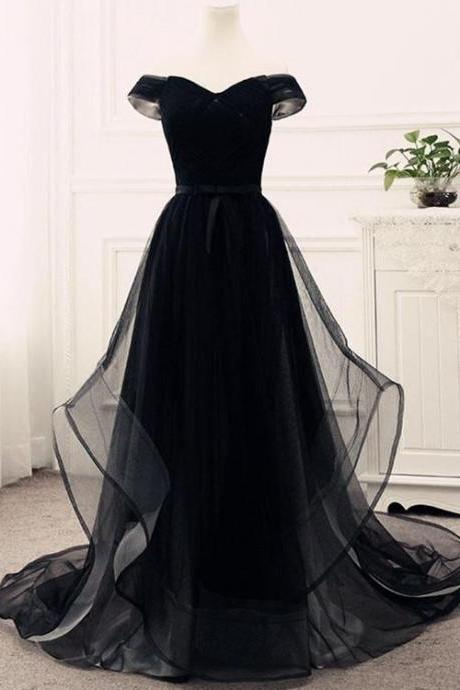 Black Off-The-Shoulder Tulle A-line Long Prom Dress, Evening Dress Featuring Lace-Up Back