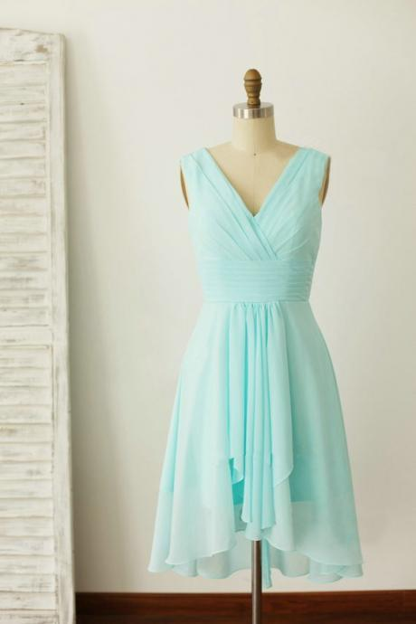 Mint Blue V-neckline Chiffon Wedding Party Dress, Beautiful Short Party Dress, Chiffon Dress
