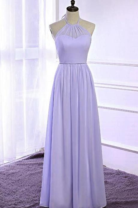 Lavender Halter Bridesmaid Dress, Chiffon Party Dress 2018, Floor Length Formal Gowns