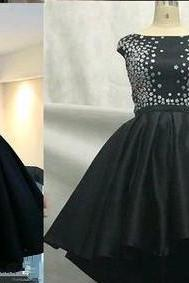 Black Satin High Low Round Neckline Short Homecoming Dresses, Little Black Dress, Party Dresses