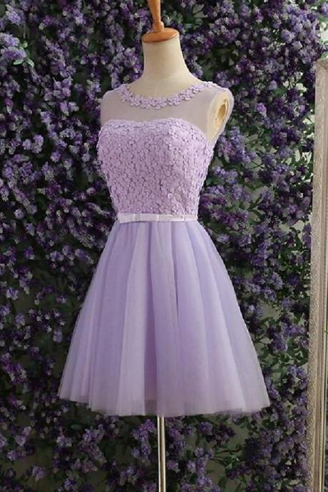 Light Purple Short Homecoming Dress, Tulle Party Dress, Lovely Party Dress 2019
