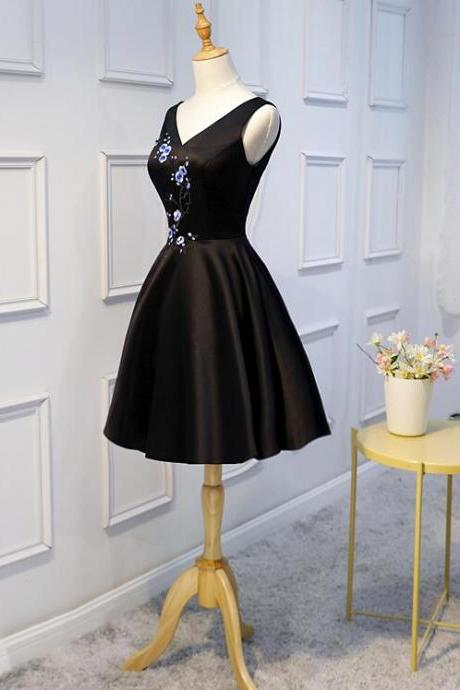 Little Black Homecoming Dresses 2018, Black Prom Dresses, V-neckline Formal Dresses
