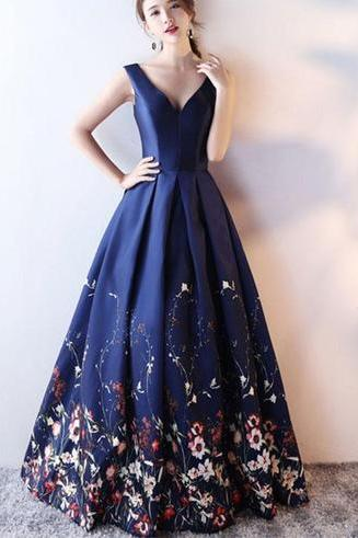 Navy Blue Floral Satin Long Party Gowns, Lace Prom Dress, Lovely Party Dress 2019
