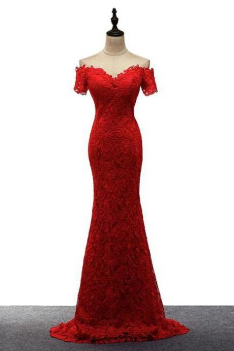 Red Off Shoulder Lace Mermaid Long Party Dress, Lace Prom Dress, Red Junior Prom Dress 2019