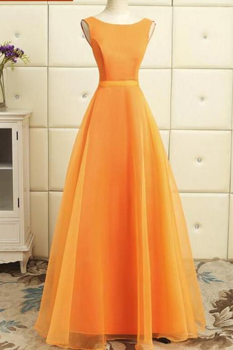 Orange Lovely Long Organza Formal Dress, Charming Party Dress 2019