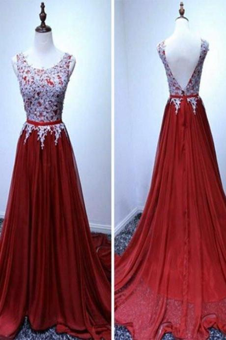 Gorgeous A-line Dark Red Formal Gown, Pretty Party Dress 2019 for Junior Prom