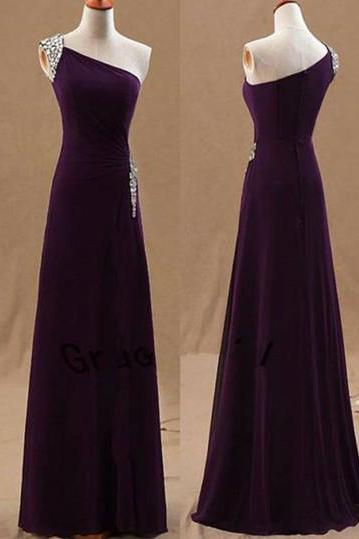 One Shoulder Dark Purple Chiffon Beaded Long Formal Dress, Prom Dress 2019, Party Gowns