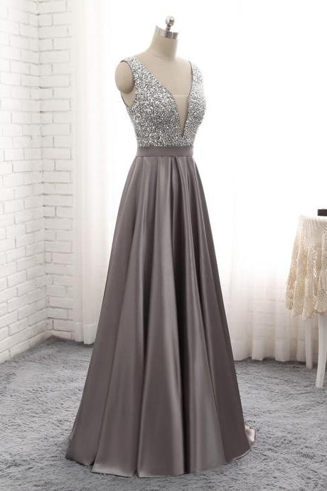 Grey Satin and Beaded V-Neckline Long Prom Dress, Junior Prom Dress 2019