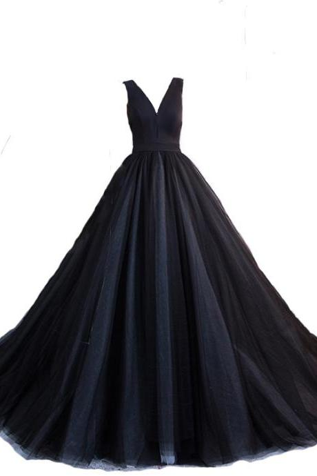 Charming Black Tulle V-neckline Formal Gown, Black Evening Dress, Black Party Dress